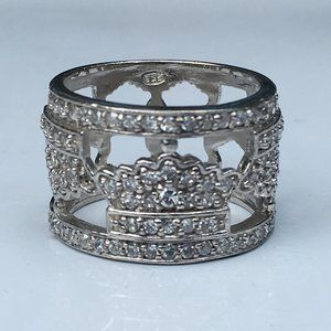 Royal Crown Sterling Silver Statement Ring Size 7